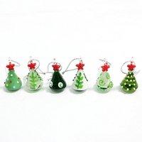 مصغرة اليدوية الزجاج شجرة عيد الميلاد الفن تمثال زخرفة ملونة لطيف قلادة هدية للطفل عيد الميلاد شنقا ديكور سحر الملحقات