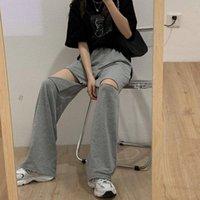 Pantalon de survêtement gris Femmes pantalons de piste haute taille pour Joggers Plus Taille Overdim Overdized Femmes Capris