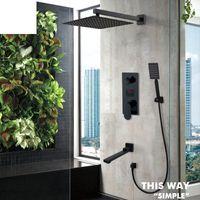 Matte Black LED Digital Display Shower Faucet Set Rain Waterfall Bathtub System LCD Bath Mixer Tap Bathroom Sets
