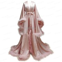 Women's Sleepwear Bathrobe For Women Flare Sleeves Feather Bridal Robe Nightgown Tulle Illusion Long Wedding Scarf Dressing Gown Pography Dr