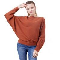 Suéteres de las mujeres 2021 Primavera y suéter de punto de otoño Una palabra Cuello Camisa de murciélago Pullover Solos Flowed Style Solid Color Top Sweet