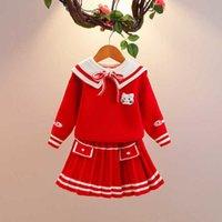 الفتيات الخريف 2021 ارتداء المرأة في المدارس المتوسطة الأطفال البحرية طوق كلية سترة صافي الدعوى الحمراء تنورة قطعتين مجموعة