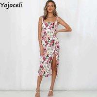 Yojoceli Sexy print floral split long women sundress Summer strap beach casual Daily female elegant mid vestidos 210609
