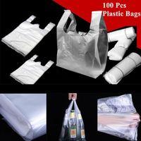 15-26cm 20-30cm 24-37cm 28-48cm100 Pcs pack Transparent Bags Shopping Bag Supermarket Plastic With Handle Packaging Gift Wrap