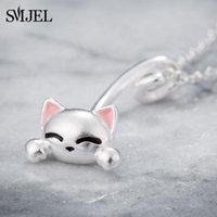 Cartoon Mond Katze Halskette für Frauen Alltag Schmuck Mode Silber Farbe Kleine Glocke Kitty Anhänger Bijoux Femme 2021 Halsketten