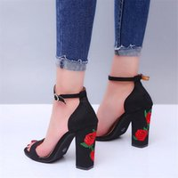 Women High Heels Plus Size Embroidery Pumps Flower Ankle Strap Shoes Female Flock Two Piece Sexy Party Wedding Sandals Open Toe