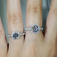 Four Claws 1ct Lab Diamond Ring 925 Sterling Silver Engagement Wedding Band Rings For Women Party Jewelry DFF4590