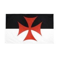 Ritter Templer Kampf Flagge große 3 x1,5 ft fuß römisch katholische kirche flaggen banner 90 * 150 cm Polyester mit Messing Tüllen Hausgarten Wand Boot Dekor