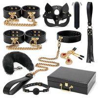 Juguetes para adultos Blackwolf BDSM Kits de esclavitud de cuero genuino Conjunto de retención de cuero Habruffes Cuello GAG Vibradores Sexo para mujeres Parejas Juegos