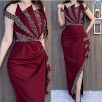 2021 Arabic Dubai Sexy Burgundy Prom Dresses Off Shoulder Silver Crystal Beads Sheath Satin Side Split Black Girls Cocktail Party Evening Gowns Ankle Length