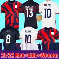 2021 2022 Pulisic McKennie Soccer Jerseys 21 22 Aaronson Musah USA Rapinoe Press Morgan Lloyd América Camisa de Fútbol Estados Unidos Lletget Hombres + Kit Kids