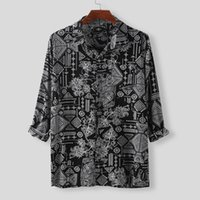 Erkek Etnik Stil Gömlek Hawaiian Rahat Gevşek Ince Uzun Kollu Elbise Bluz Baskı Degrisli Gömlek Koszule Üstleri Erkekler