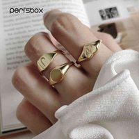Peri'sbox 925 Sterling Silver Size initial ring gold geometric bright ring for women's love heart minimalist adjustable ring J0525