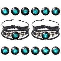 Fashion Bijoux Design Douze constellations Constellations Cuir Bracelets Rétro Perles Tissées à la main DIY Bracelet Zodiaque Pour Femmes Hommes Cadeaux 1642 Q2