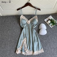 Casual Dresses Ice Pajamas Women's Summer Sexy Side Split Suspender Nightdress With Breast Pad Gathered Lace Deep V-neck Seductive Skirt
