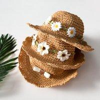 Ins Estate Flower Bow Cappelli per ragazze Bambini Paglia Baby Lace-Up Bucket Cappello fatto a mano Bambini Panama Cappellini da spiaggia vacanza