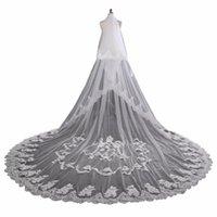 Bridal Veils ZYLLGF 3.5M Veil Lace Applique Cathedral Length White For Bride Tulle Accessoire De Mariage BL10