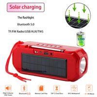 TG280 Bluetooth Speaker Portátil Carregamento Solar Loudspeaker Wireless Mini Coluna 3D 10W Música Estéreo Surround Suporte FM / TF Bass Box com lanterna LED