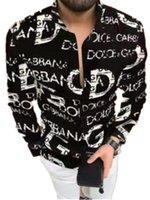 Мужские Платье Рубашки Гавайи Стиль Письмо Печать Дизайнерская Рубашка Slim Fit Мужчины Мода С Длинным Рукавом Случайная Мужская Одежда M-3XL