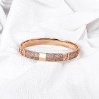 Мода классический персонализированный дизайн браслет из нержавеющей стали циркона буквы льдом 18К розовый золотой браслет для женщин богемное обещание свадебные украшения женщины 3 цвета