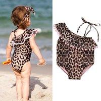 One-Pieces Leopard Bow Baby Girls Swimwear Summer Kids Tassels Bikini One-piece Swimsuit Beach Bathing Suit For 6m-5y