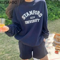 Women's Trainingsanzüge Kusahiki Koreaner Herbst Sweatshirt Kurze Sets Kausal Oansatz Buchstaben gedruckt Hoodies + High Taille Shorts 2pieces Anzüge 6x20