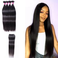 Wholesale Straight Hair 4 Bundles With Lace Closure 4x4 Unprocessed Natural 1B Color Remy Human Bundles Straight Hair Extensions