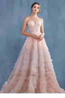 5773 auf Lager Tüll Abendkleider mit Schatz Sleeveless Rüschen Peplum Celebrity Formale Partykleider Myriam Tarife Günstige Prom Wear Sale