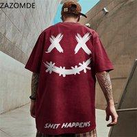 Zazomde 2021 новая мода футболка хип-хоп мужские летние с коротким рукавом свободная футболка хлопок повседневная негабаритная базовая смайлик тройник мягкий х0726
