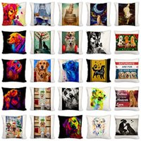 Cushion Decorative Pillow Golden Water Color Poster 45cm*45cm Dog Animals Printed Design Linen cotton Throw Covers Couch Cushion Cover Home