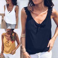 Women V-Neck Vest Loose Casual Bow Knot Tank Tops Beach T-Shirt Summer Blouse
