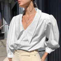 2021 Lapel bubble sleeve shirt women's spring and summer new quarter sleeve French temperament design shirt top