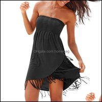 Er-Ups Swimming Equipment Sports & Outdoorser-Ups Summer Womens Tube Top Fringed Skirt Beach Seaside Holiday Solid Color Fashion Casual Dres