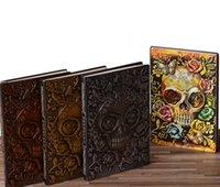 Vintage Relievo Pu Halloween Presente A5 Notepad Caderno Viagem Comemorativa Esqueleto Forma