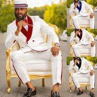 Blanc Hommes Mariage costume 3 pièces Custom Custom Bridegoom Prémise Tuxedo Slim Fit Blazer Velvet rouge Veste à double boutonnage Veste Pantalon