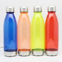 New750ml Sport Water Bottles Cola Bottle Forma Plastica Plastica Boccetta riutilizzabile con in acciaio inox Twist Twist Off Cap Acciaio Base LLD9302
