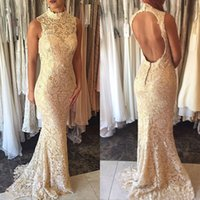 Champgane Lace Mother of the Bride Dresses for Wedding Party High Neck Sleeveless Hollow Backless Mermaid Long Evening Prom Gowns Custpmized