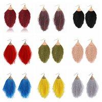 2020 Vintage Tassel ethnique Boucles d'oreilles Bohême Goutte Dangle longue corde Fringe coton Boucles d'oreilles pour les femmes en plaqué or Bijoux mode cadeau-Y