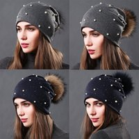 Beanie Skull Caps Women's Winter Knitted Beanie Hat Real Raccoon Fur Pom With Pearls Beaded Trim Warm Cap For Women Knited