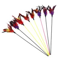 Cat Toys Creative 19.69in Teaser Wand Stick Feather Black Coloured Pole Like Birds With Small Bell Training Random Color