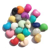 Tyry.HU 10PCS Collar de dentición de silicona Beads de forma de corazón Grado de alimentos Silicona Bebé Bebé Accesorios Dimuminarios Decorar 1070 y2