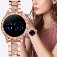 Designer luxury brand watches Touch Screen LED Digital Women Fashion Rhinestone Ladies Stainless Steel Wristes Relogio Feminino
