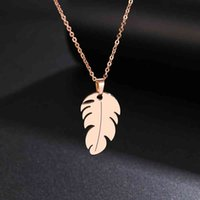 Necklace Cacana Stainless Steel for Women Man Lover's Feather Gold and Silver Color Pendant Engagement Jewelry