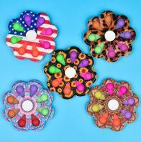 Flores de arco-íris Forma Leopardo Impressão Impressão Pop It Fidget Bubble Brinquedos Sensory Simple Dimple Chave Deconto Decompression Toy Keychain Esprema Bolhas Spinner Ball
