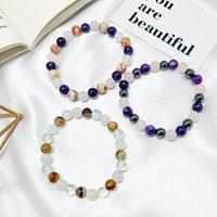 Beaded, Strands Fashion Jewelry 8 Mm Women's Charm Bracelet Natural Stone Amethyst Hematite Opal Pink Crystal Romantic Sweet Handmade Bangle