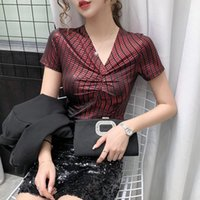Summer European Clothes Cotton T-Shirt Sexy V-Neck Patchwork Shiny Women Tops Casual Bottoming Shirt Tees 2021 Women's