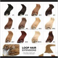 "Ring Micro Loop Remy Extensions 18 ""20"" 22 ""24"" Indische Jungfrau Gerade Keratin Haar 100g / lot 1g / Strang 13 Farben 6Val 41WQH"