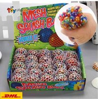 Wholesale 5CM Colorful Mesh Squishy Grape Ball Fidget Toy Anti Stress Venting Balls Squeeze Toys Decompression Anxiety Reliever DHL