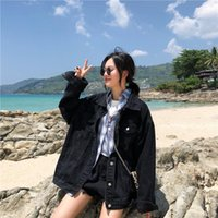 Women's Jackets 2021 Autumn Black Denim Coat Female Loose Vintage Jeans Jacket-Music Of The Tide Womens