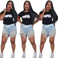 Sparkle Sequins Tassels Women Jeans Fashion Patchwork High Waist Light Washed Stunning Denim Shorts Party Club Streetwear Girls